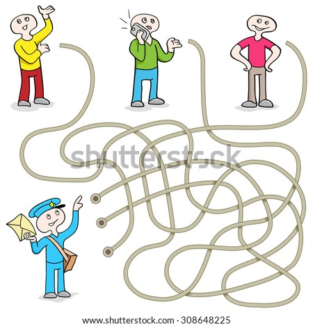 Funny Maze Game: Help the Postman Send Message! Vector Illustration with tangled lines. Doodles People - stock vector