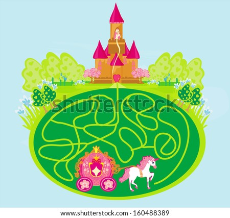 Funny maze game - princess waits in a castle - stock vector