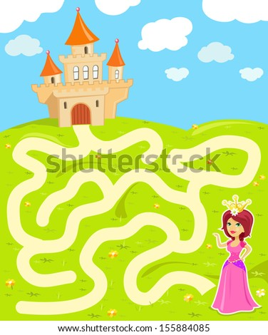 Funny maze game: the beauty princess find the way to her castle - stock vector