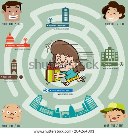 Funny maze game, the girl gives gifts to anyone in the city, illustrator Vector - stock vector