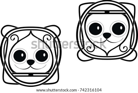 stock vector funny meme logo cat and bear in bread 742316104 funny meme logo cat bear bread stock vector 742316104 shutterstock