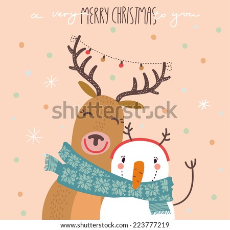 Funny Merry Christmas card - stock vector