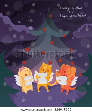Funny Merry Christmas card with cat, dog and bunny singing Christmas songs under the spruce in the night. Vector illustration, cute, kind, happy. - stock vector
