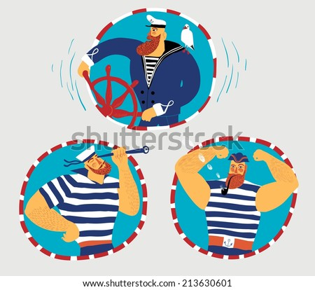 Funny mighty cartoon sailors set. Colorful, bright and editable. - stock vector
