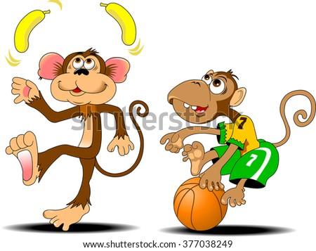 funny monkey juggling two yellow bananas, vector - stock vector