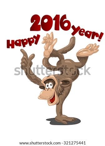 Funny monkey symbol of 2016, illustration, vector - stock vector
