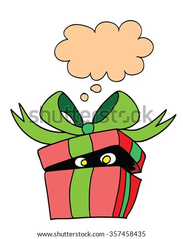 Funny monster in gift box - surprise delivery vector illustration. Red present box with  green ribbon bow and talk bubble - something with yellow eyes inside. Retro cartoon character, cute and funny. - stock vector