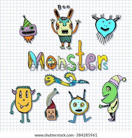 Funny monsters characters. Doodle set. Vector handdrawn Illustration. Coloring page - stock vector
