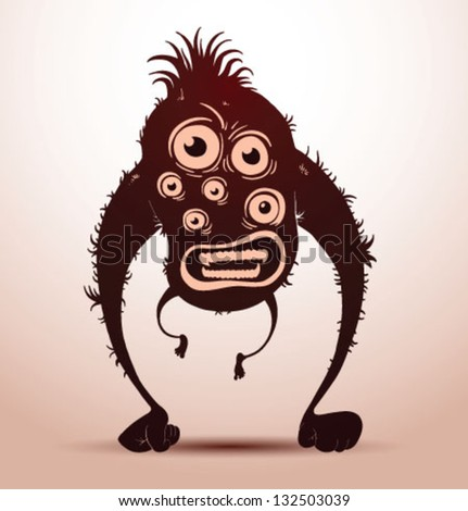 funny monsters silhouette 02, vector - stock vector