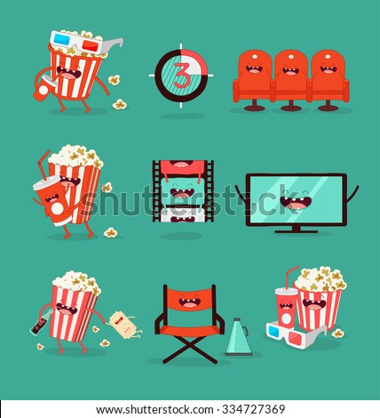 Funny movie icons set.  - stock vector