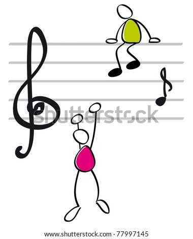 funny musicians - stock vector
