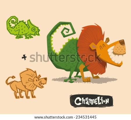 Funny Mutant Hybrid, Chameleon plus Lion, vector - stock vector