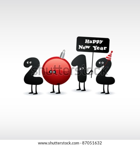 Funny New Year's Eve greeting card. 2012. - stock vector