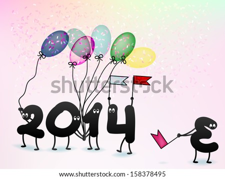 Funny 2014 New Year's Eve greeting card. + EPS10 vector file - stock vector