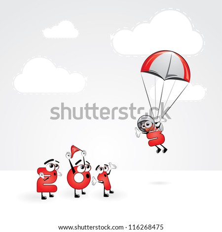 Funny New Year's Eve greeting card - Skydiving year - stock vector