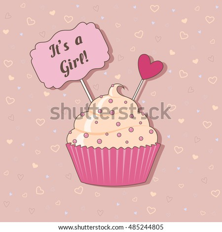 Funny newborn birthday vector Illustration of cake on pink background with hearts for girl