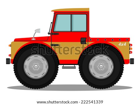 Funny off-road car. Vector illustration without gradients on one layer.
