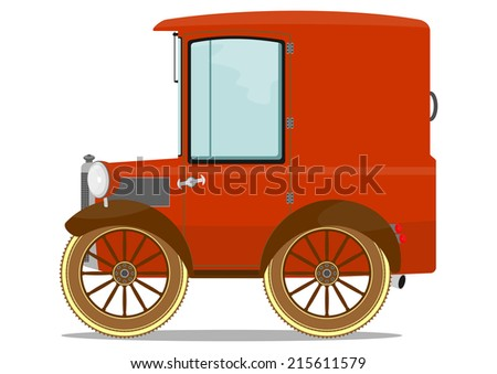Funny old car. Vector illustration. One layer with no gradients.  - stock vector