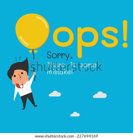 Funny Oops symbol with cute character of businessman.  - stock vector