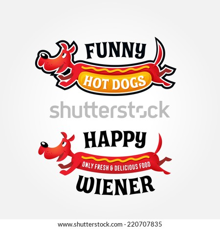 Funny original colorful logo template for hotdog business, happy red dog vector illustration - stock vector