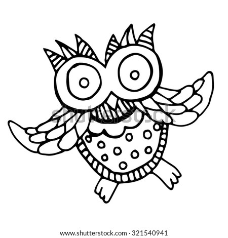 Funny owl illustration - original drawing. Illustration of baby owl trying to fly  - stock vector