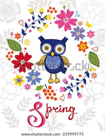 Funny owl in floral wreath. Vector illustration - stock vector