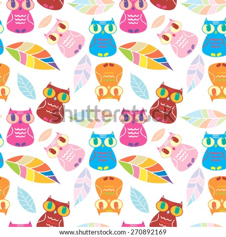 funny owl pattern  - stock vector