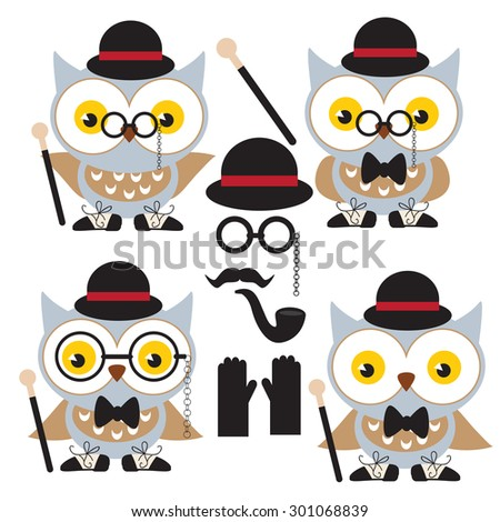 Funny owl vector illustration