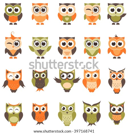 Funny owls and owlets set  - stock vector