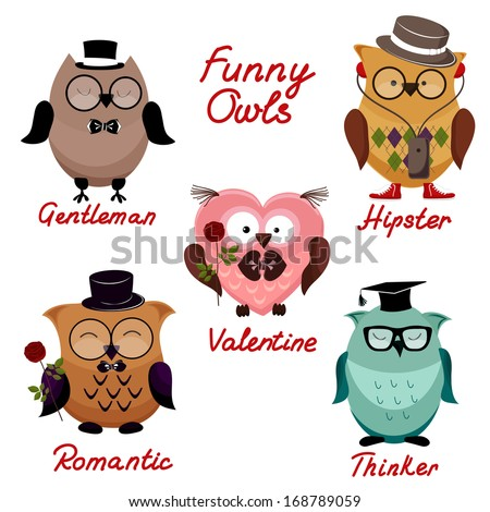 funny owls. set for your design. - stock vector