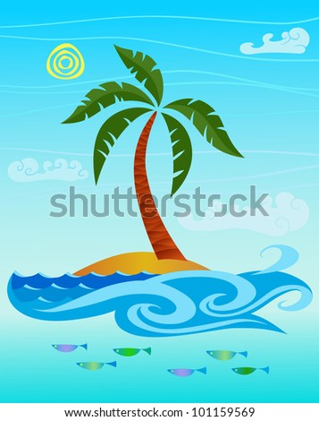 Funny palm tree on a small island.