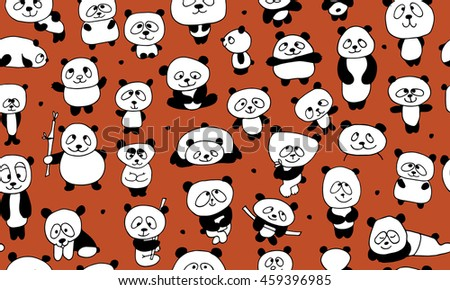 Funny pandas, seamless pattern for your design - stock vector