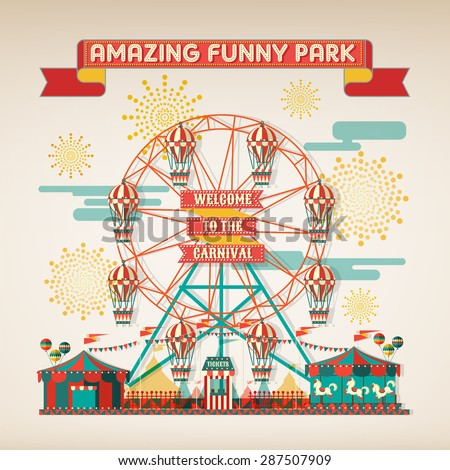 FUNNY PARK CARNIVAL DAY SCENE ELEMENTS - stock vector