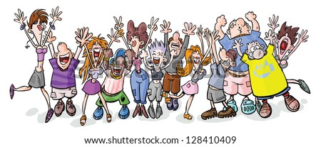 Funny party people. - stock vector