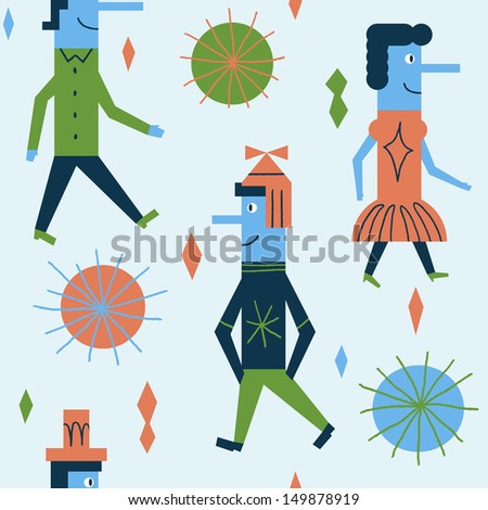Funny pattern with cheerful people. Vector seamless design - stock vector