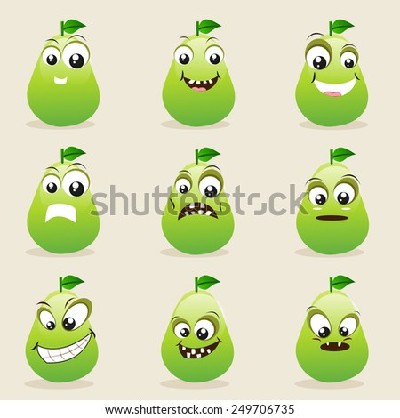 Funny pear character showing different facial expressions on beige background. - stock vector