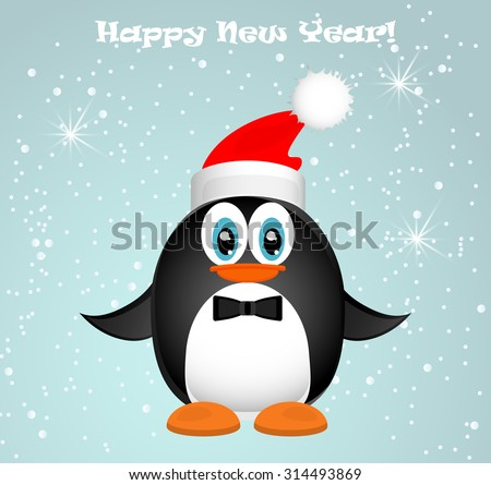 Funny penguin. Abstract Christmas card - stock vector
