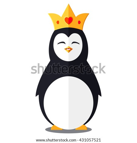 funny penguin wearing a crown on a white background - stock vector