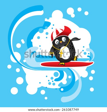 Funny penguin with red cap rides his surf on waves  - stock vector