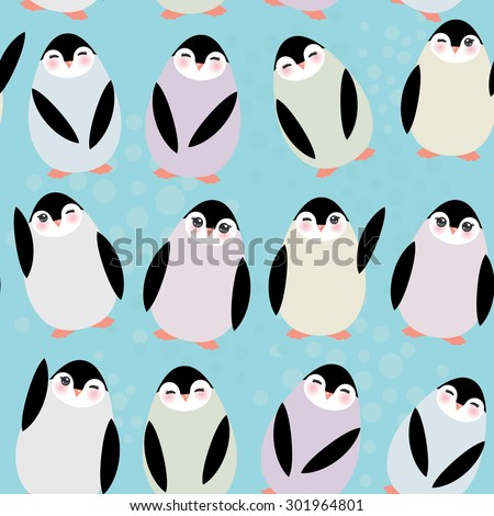 Funny penguins on blue background seamless pattern. Vector - stock vector