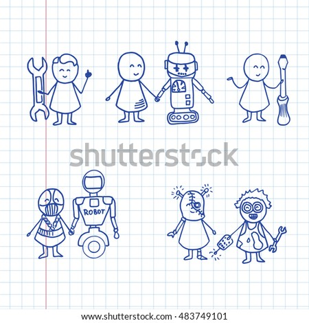 Funny people and robots icons. Doodle technology set. Vector hi tech Illustration on notebook sheet.