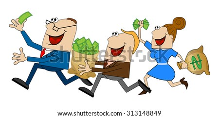 funny people fleeing with the money, vector illustration - stock vector