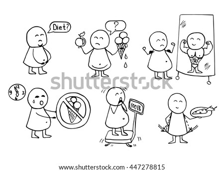 Funny people icons. Health, food, diet - doodles set. Vector  background. - stock vector