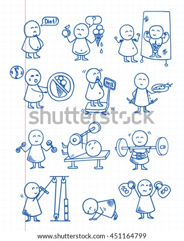 Funny people icons. Health, food, diet, fitness, sport training - doodles set. Vector background on graph paper. - stock vector
