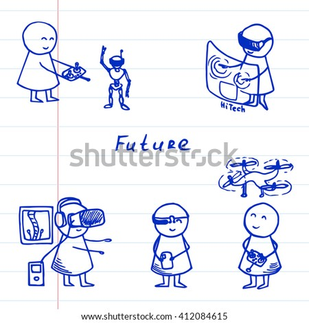 Funny people icons on striped paper. Doodle technology set. Vector hi-tech Illustration. - stock vector
