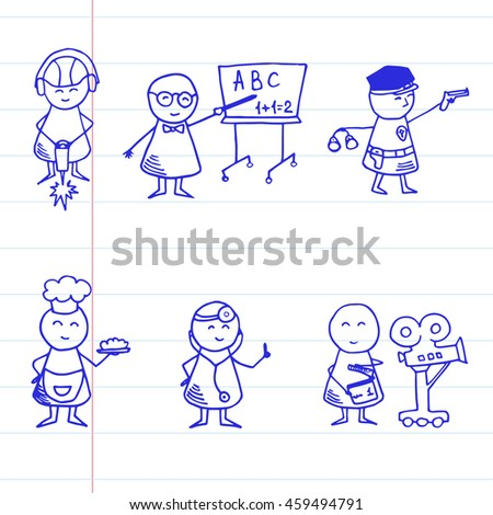 Funny people icons. Professional set.  Vector Illustration on striped paper.