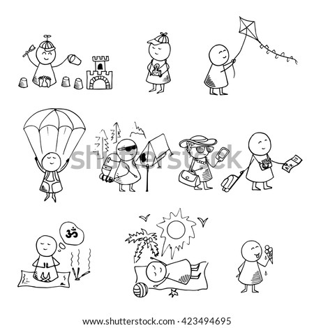 Funny people icons. Set of summer vacation symbols. Doodle vector illustration. - stock vector