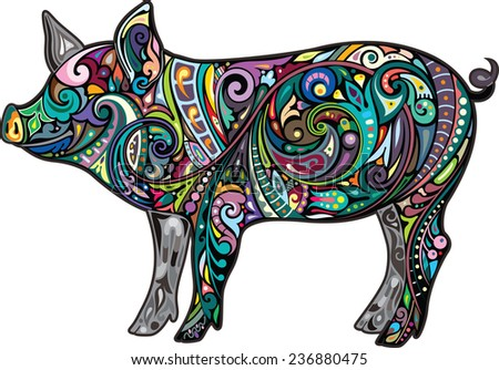 Funny pig. - stock vector