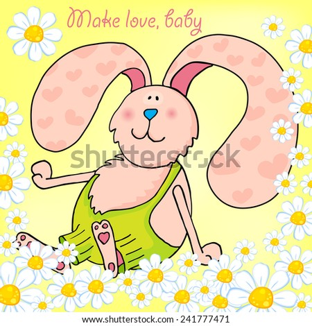Funny pink bunny, hare, rabbit with spring's flowers. Vector illustration for a postcard Happy Valentin's Day. - stock vector