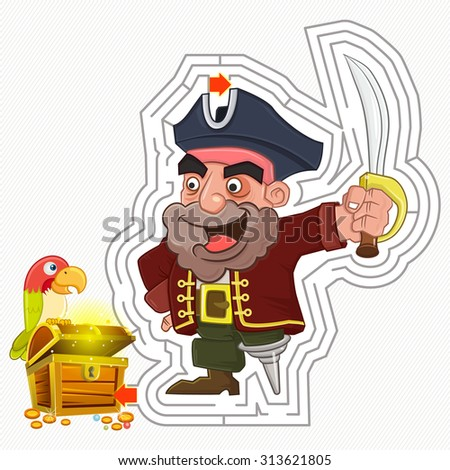 Funny Pirate with Parrot and Treasure, Pirate treasure maze game, Vector illustrator